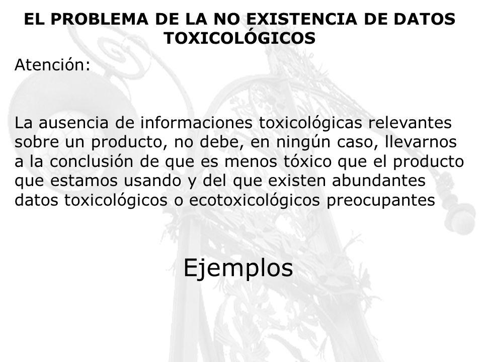 EL PROBLEMA DE LA NO EXISTENCIA DE DATOS TOXICOLÓGICOS Atención: La ausencia de informaciones toxicológicas relevantes sobre un producto, no debe, en