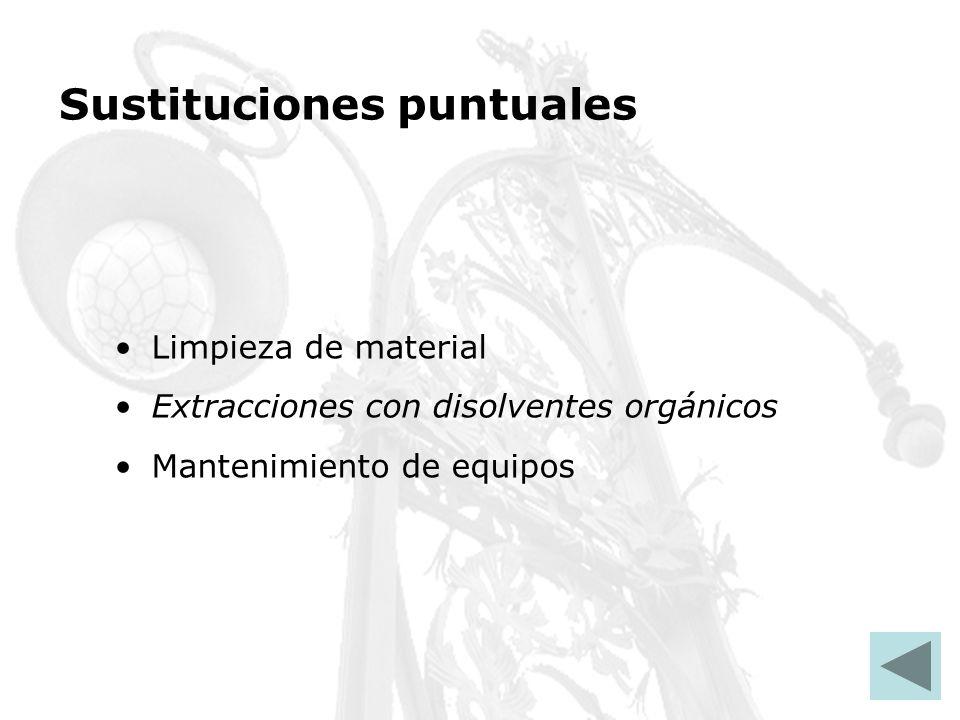 Sustituciones puntuales Limpieza de material Extracciones con disolventes orgánicos Mantenimiento de equipos