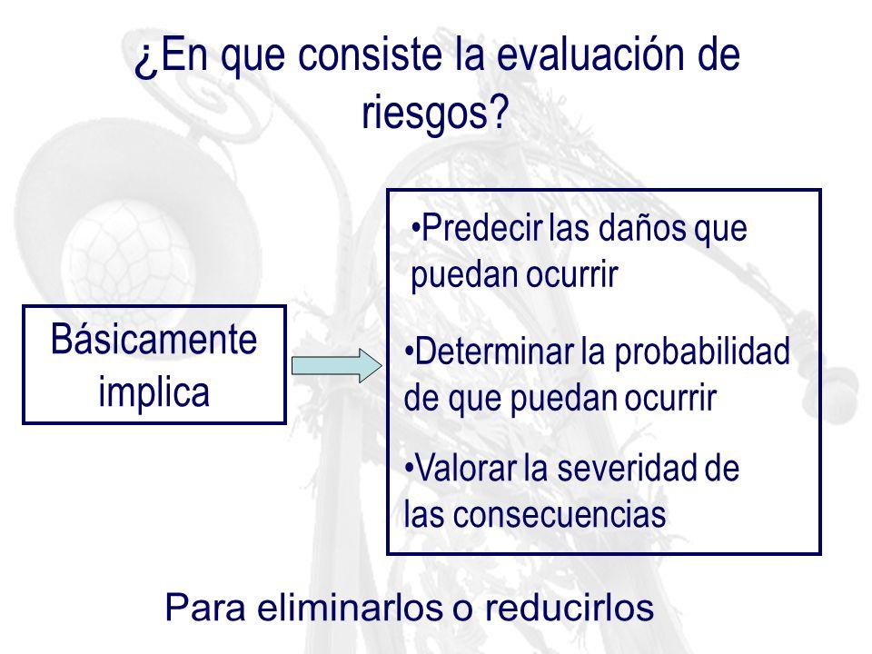 Tipos de metodologías para la evaluación del riesgo químico: Evaluaciones simplificadas Evaluaciones exhaustivas Riesgo por exposición COSHH Essentials UNE 689:1995 Riesgo de accidente CNCT- INSHT HAZOP Árboles de fallos Árboles de sucesos INRS …………