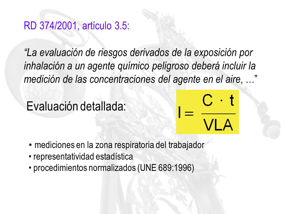 Procedimiento general de evaluación de los riesgos por inhalación de agentes químicos UNE EN 689:1996 0.