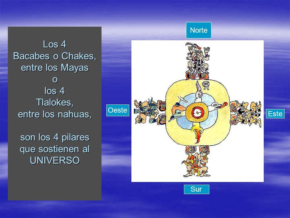 Los 4 Bacabes o Chakes, entre los Mayas o los 4 Tlalokes, entre los nahuas, son los 4 pilares que sostienen al UNIVERSO Norte Sur Oeste Este