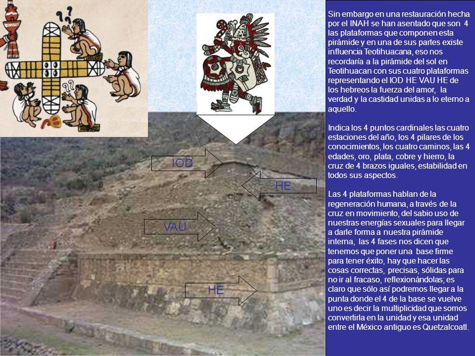 Sin embargo en una restauración hecha por el INAH se han asentado que son 4 las plataformas que componen esta pirámide y en una de sus partes existe i