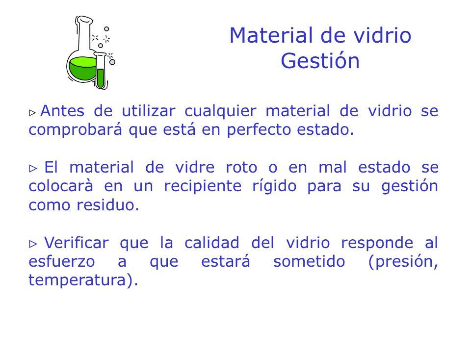 Material de vidrio Gestión Antes de utilizar cualquier material de vidrio se comprobará que está en perfecto estado. El material de vidre roto o en ma
