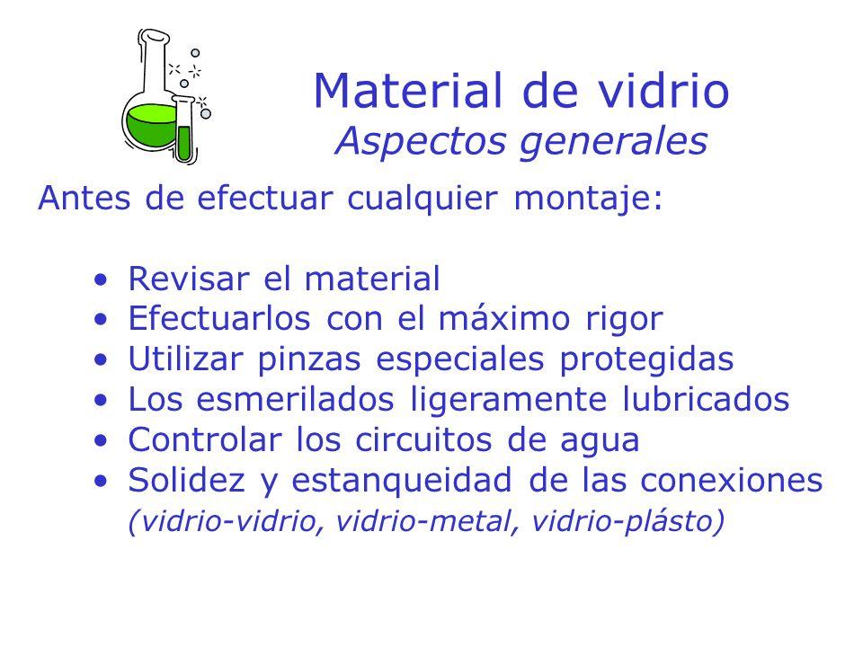 Material de vidrio Aspectos generales Antes de efectuar cualquier montaje: Revisar el material Efectuarlos con el máximo rigor Utilizar pinzas especia