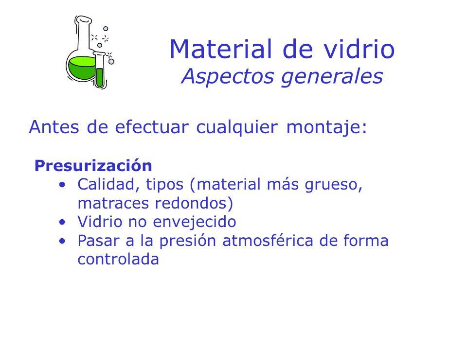 Material de vidrio Aspectos generales Antes de efectuar cualquier montaje: Presurización Calidad, tipos (material más grueso, matraces redondos) Vidri