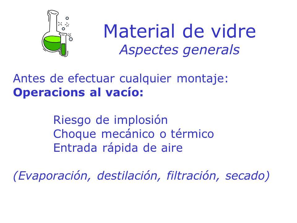 Material de vidre Aspectes generals Antes de efectuar cualquier montaje: Operacions al vacío: Riesgo de implosión Choque mecánico o térmico Entrada rá