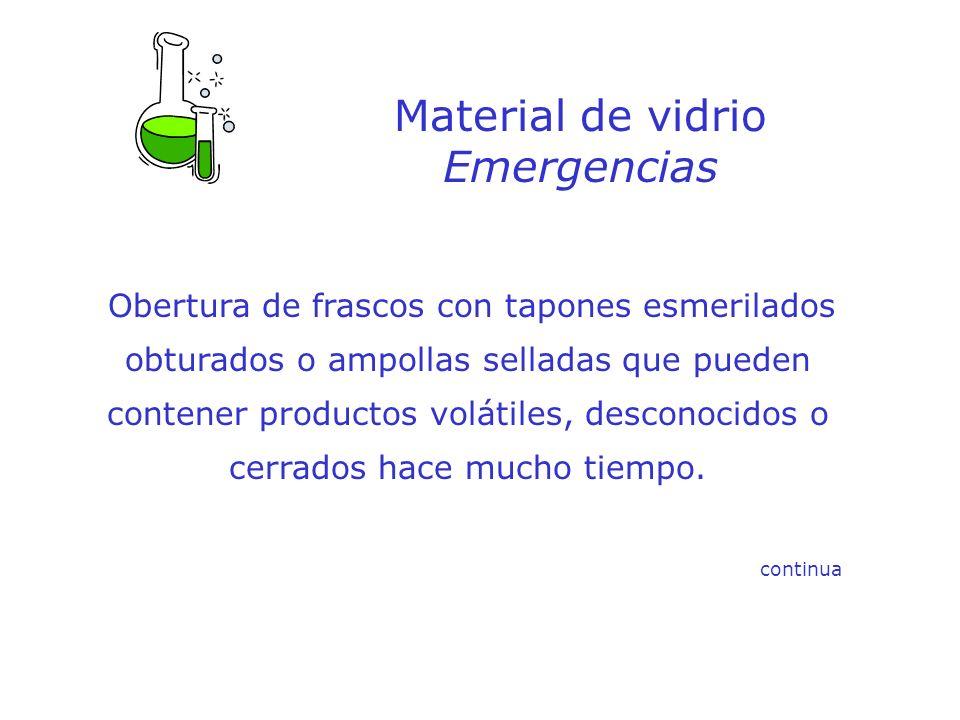 Material de vidrio Emergencias Obertura de frascos con tapones esmerilados obturados o ampollas selladas que pueden contener productos volátiles, desc