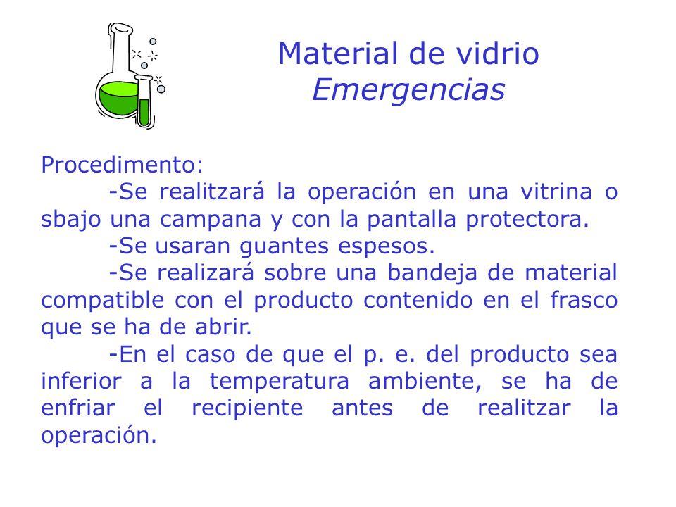 Material de vidrio Emergencias Procedimento: -Se realitzará la operación en una vitrina o sbajo una campana y con la pantalla protectora. -Se usaran g