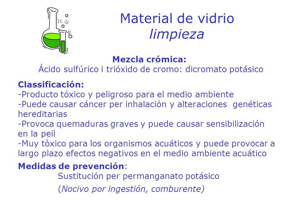 Material de vidrio limpieza Mezcla crómica: Ácido sulfúrico i trióxido de cromo: dicromato potásico Classificación: -Producto tóxico y peligroso para
