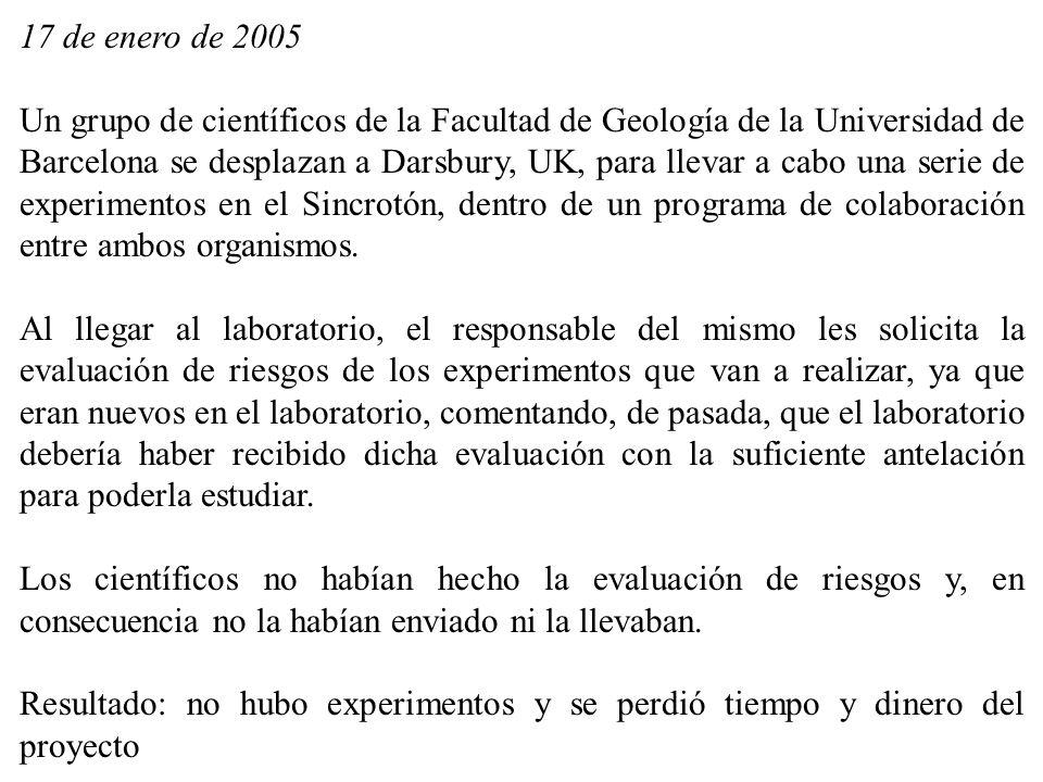 17 de enero de 2005 Un grupo de científicos de la Facultad de Geología de la Universidad de Barcelona se desplazan a Darsbury, UK, para llevar a cabo