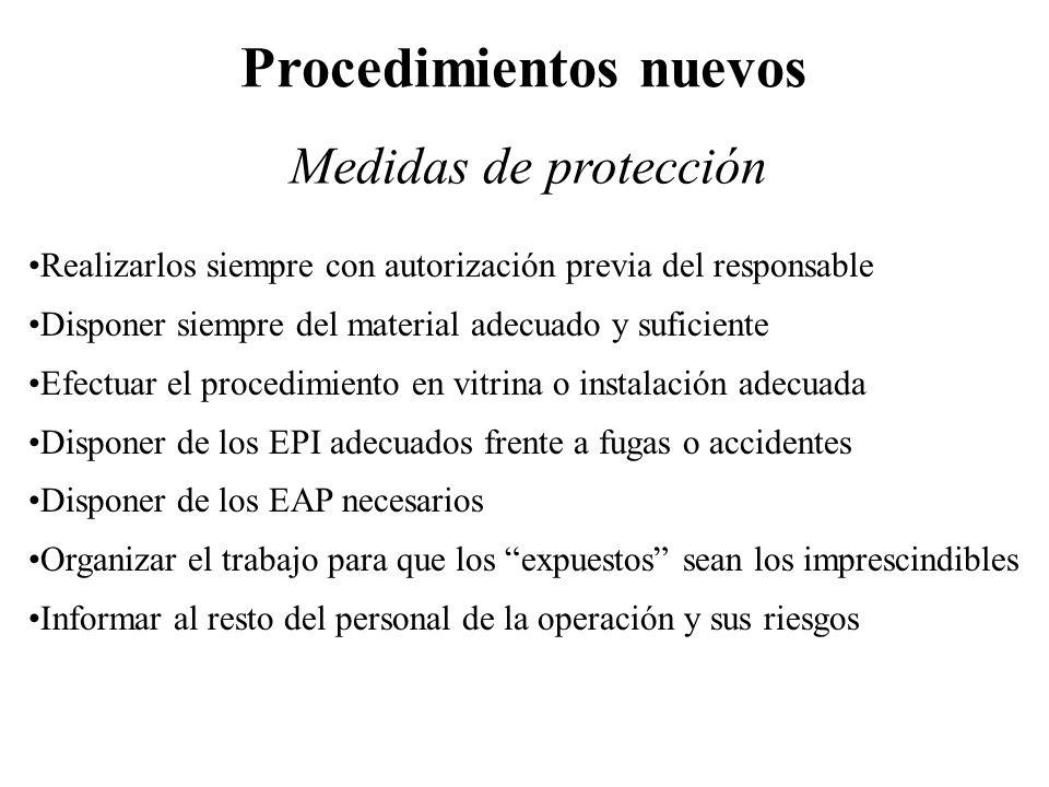 Realizarlos siempre con autorización previa del responsable Disponer siempre del material adecuado y suficiente Efectuar el procedimiento en vitrina o