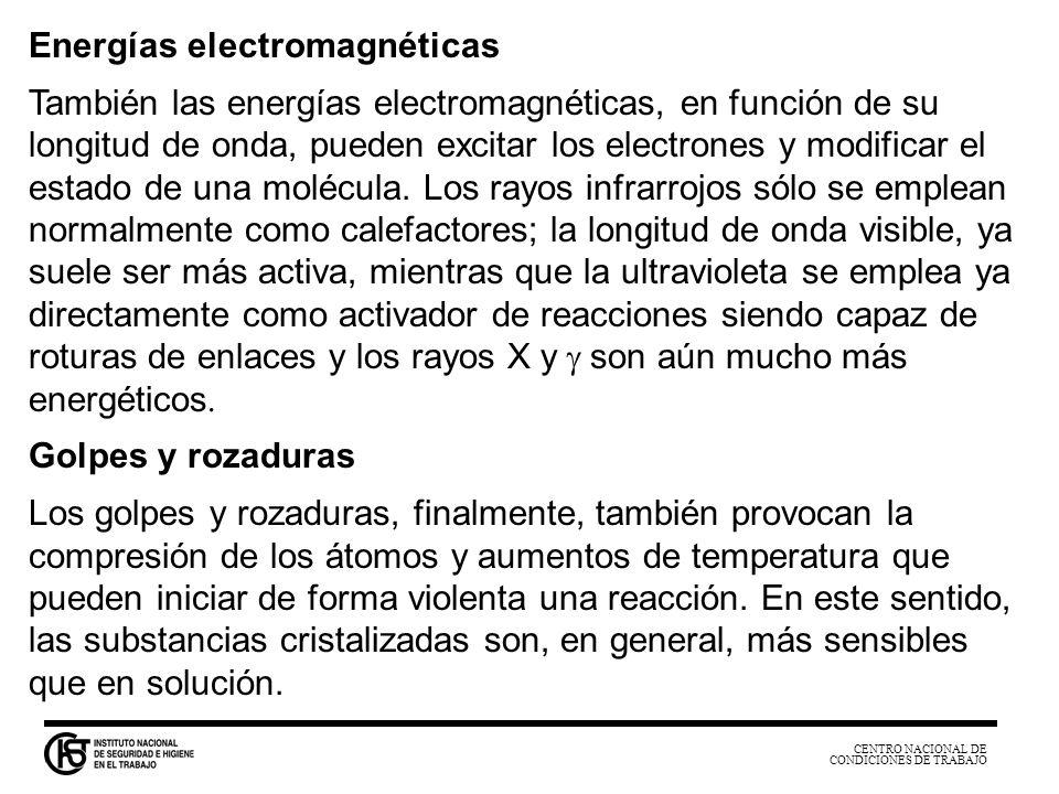 CENTRO NACIONAL DE CONDICIONES DE TRABAJO Energías electromagnéticas También las energías electromagnéticas, en función de su longitud de onda, pueden