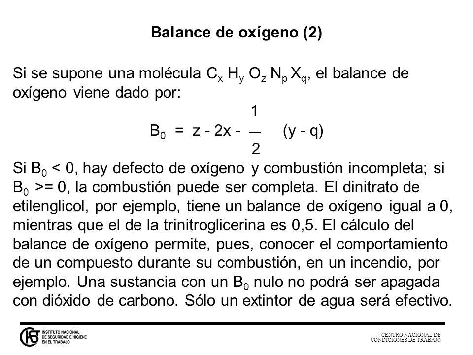 CENTRO NACIONAL DE CONDICIONES DE TRABAJO Balance de oxígeno (2) Si se supone una molécula C x H y O z N p X q, el balance de oxígeno viene dado por: