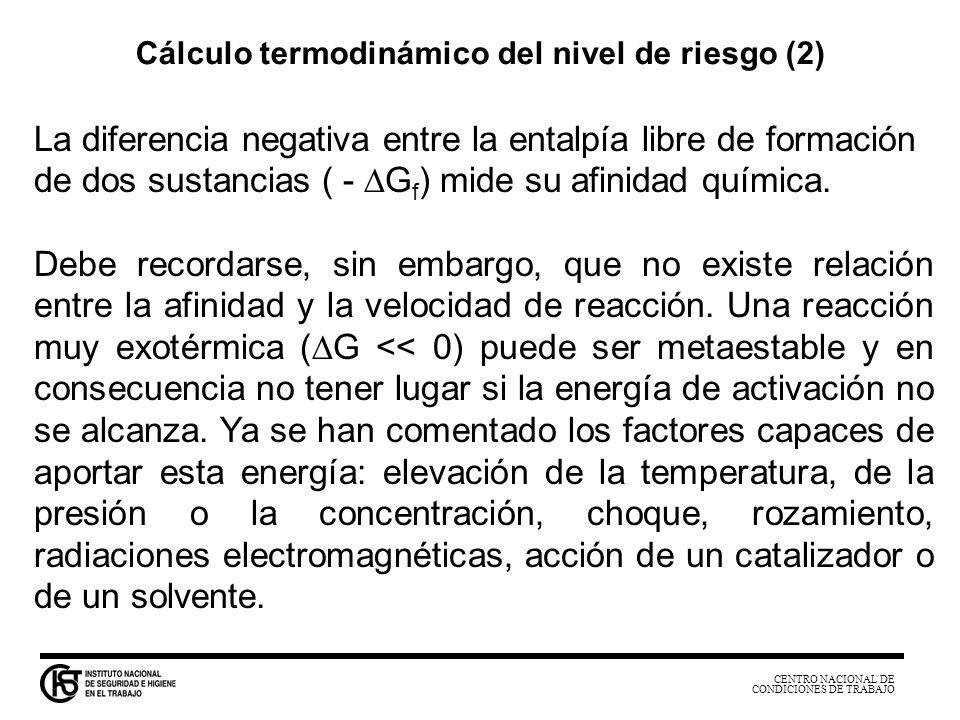 CENTRO NACIONAL DE CONDICIONES DE TRABAJO La diferencia negativa entre la entalpía libre de formación de dos sustancias ( - G f ) mide su afinidad quí