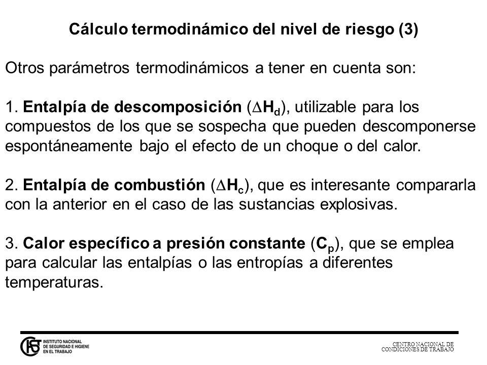CENTRO NACIONAL DE CONDICIONES DE TRABAJO Otros parámetros termodinámicos a tener en cuenta son: 1. Entalpía de descomposición ( H d ), utilizable par