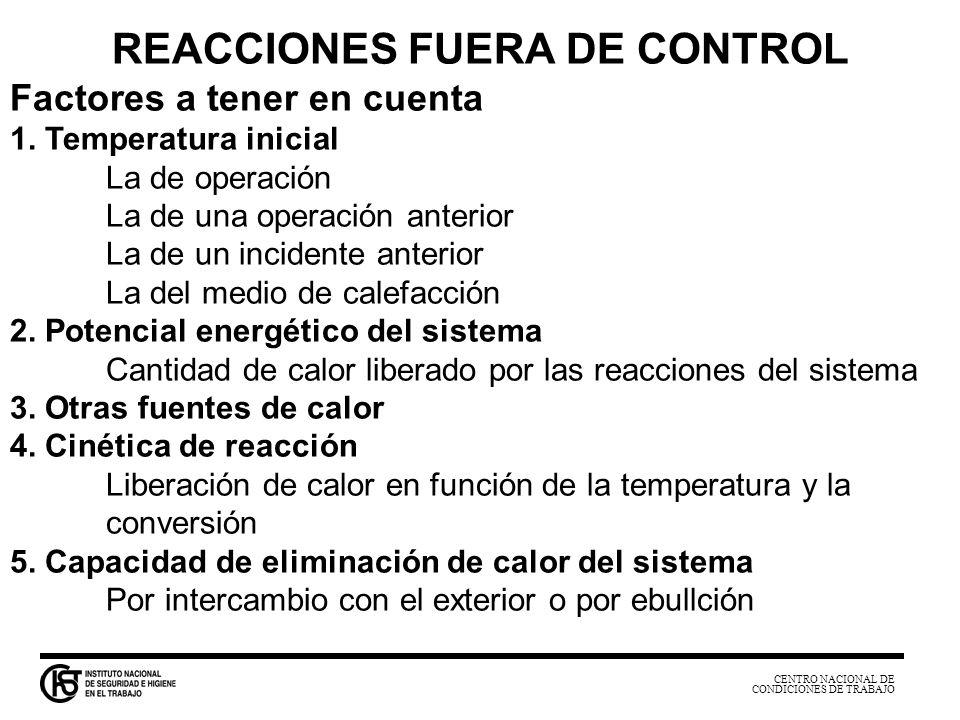 CENTRO NACIONAL DE CONDICIONES DE TRABAJO REACCIONES FUERA DE CONTROL Factores a tener en cuenta 1. Temperatura inicial La de operación La de una oper