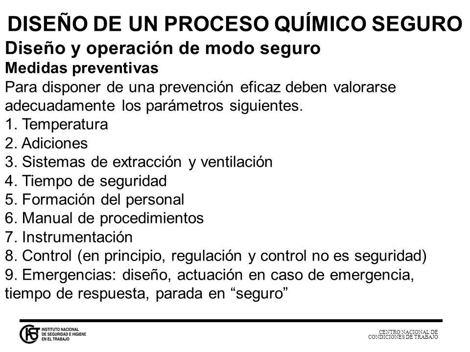 CENTRO NACIONAL DE CONDICIONES DE TRABAJO DISEÑO DE UN PROCESO QUÍMICO SEGURO Diseño y operación de modo seguro Medidas preventivas Para disponer de u