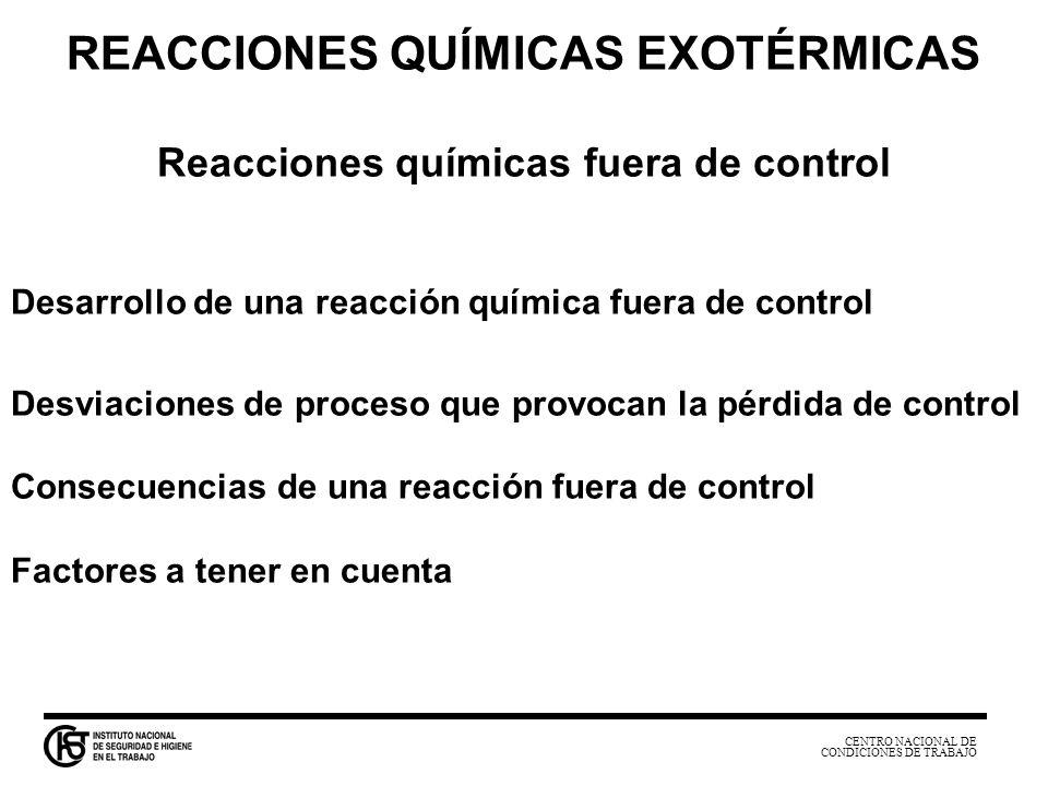 CENTRO NACIONAL DE CONDICIONES DE TRABAJO REACCIONES QUÍMICAS EXOTÉRMICAS Reacciones químicas fuera de control Desarrollo de una reacción química fuer