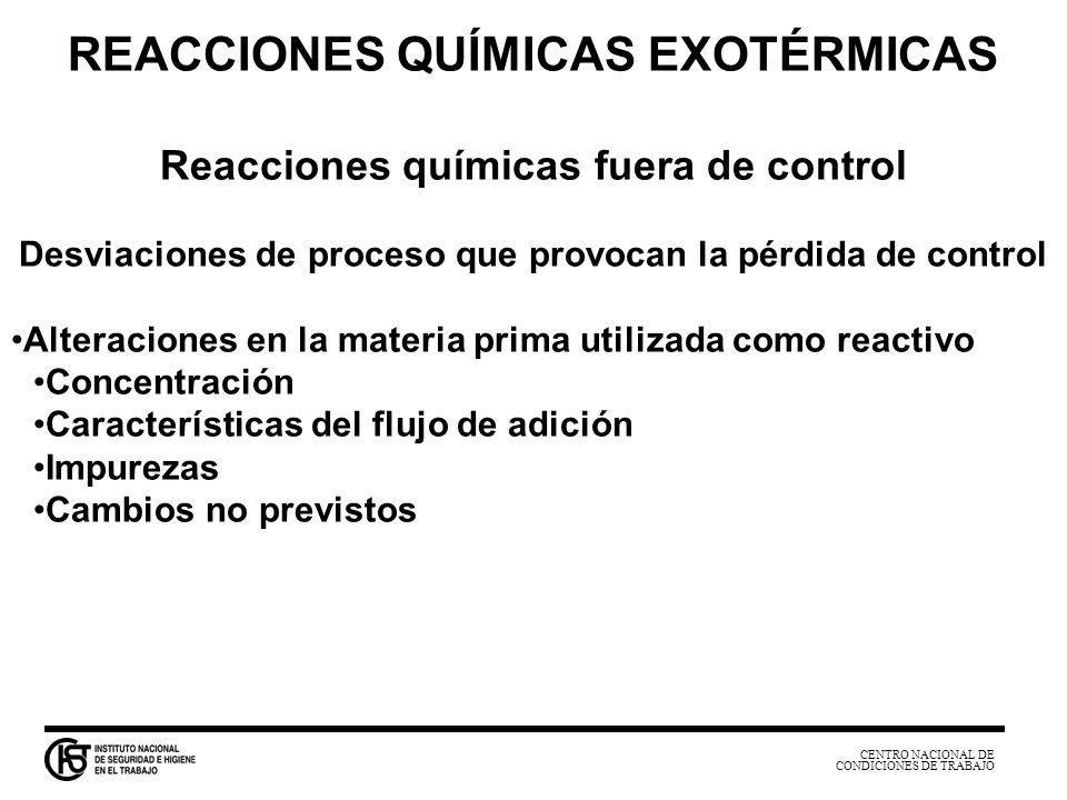 CENTRO NACIONAL DE CONDICIONES DE TRABAJO REACCIONES QUÍMICAS EXOTÉRMICAS Reacciones químicas fuera de control Desviaciones de proceso que provocan la