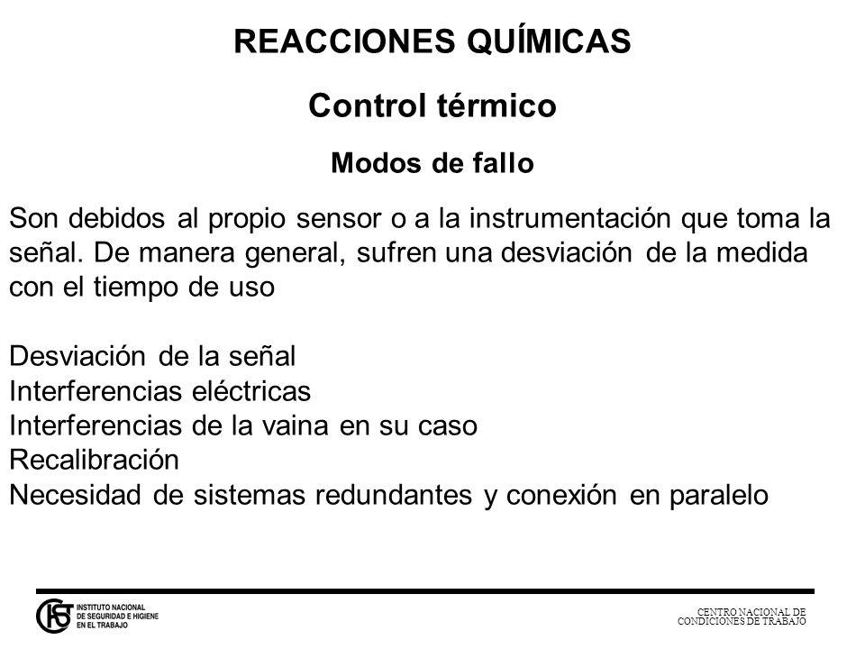 CENTRO NACIONAL DE CONDICIONES DE TRABAJO REACCIONES QUÍMICAS Control térmico Modos de fallo Son debidos al propio sensor o a la instrumentación que t