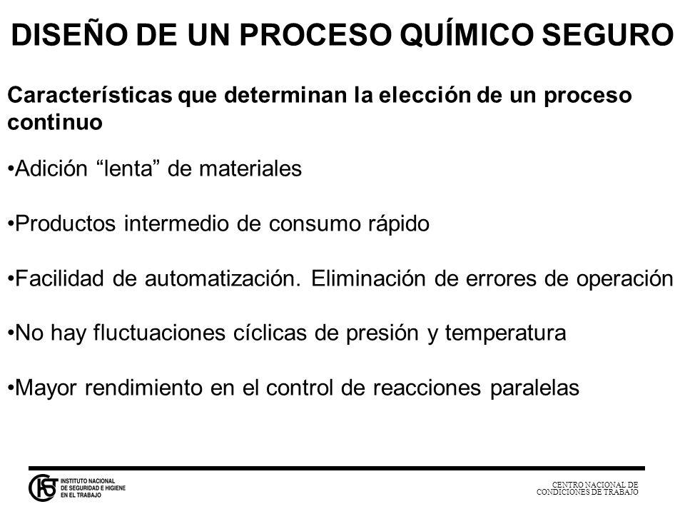 CENTRO NACIONAL DE CONDICIONES DE TRABAJO DISEÑO DE UN PROCESO QUÍMICO SEGURO Características que determinan la elección de un proceso continuo Adició