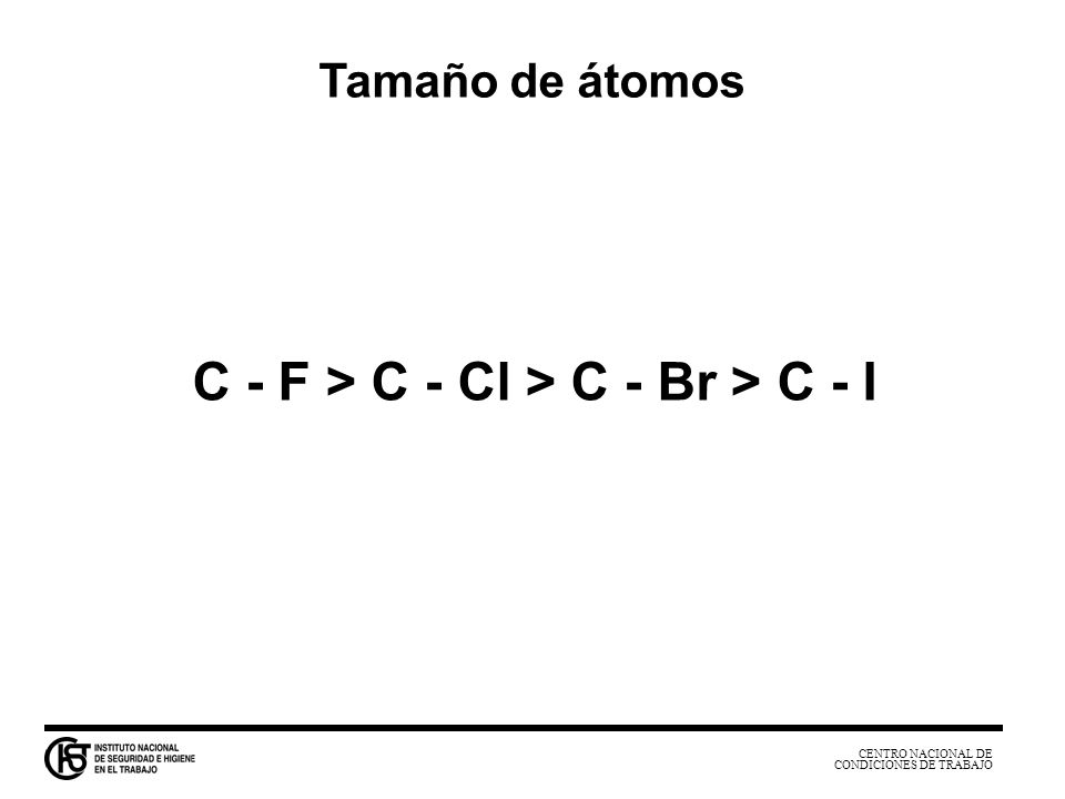 CENTRO NACIONAL DE CONDICIONES DE TRABAJO La diferencia negativa entre la entalpía libre de formación de dos sustancias ( - G f ) mide su afinidad química.