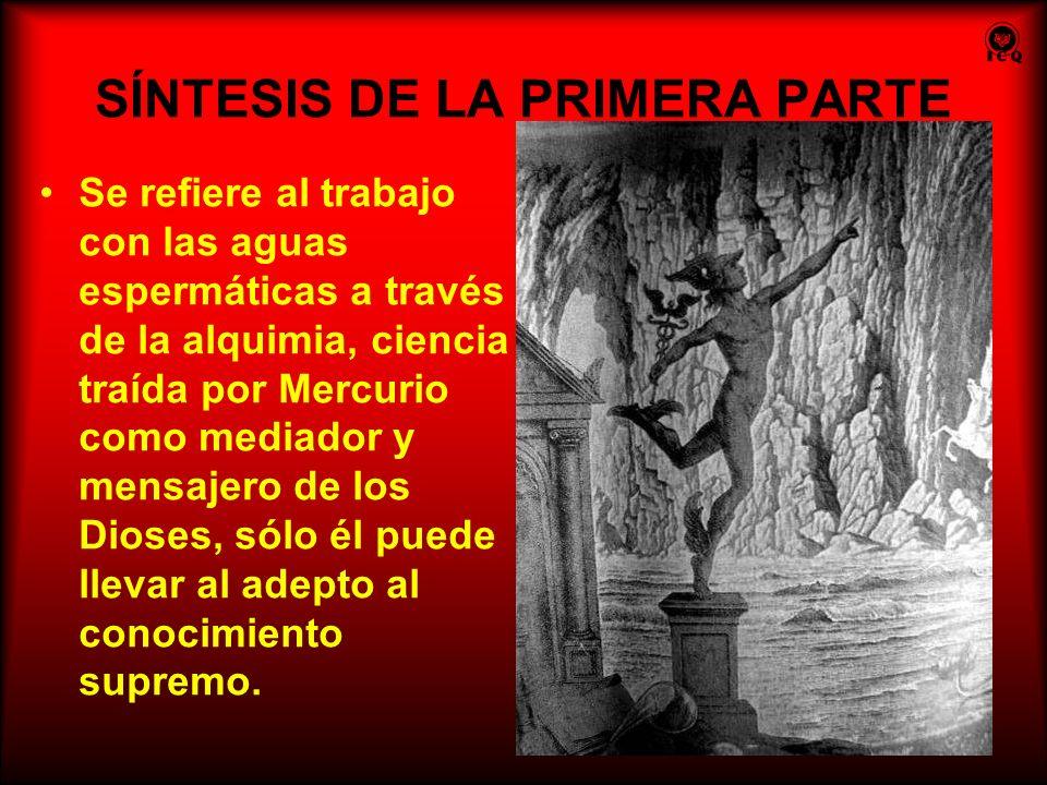 SÍNTESIS DE LA PRIMERA PARTE Se refiere al trabajo con las aguas espermáticas a través de la alquimia, ciencia traída por Mercurio como mediador y men
