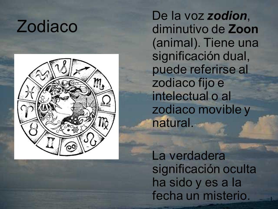 Zodiaco De la voz zodion, diminutivo de Zoon (animal).
