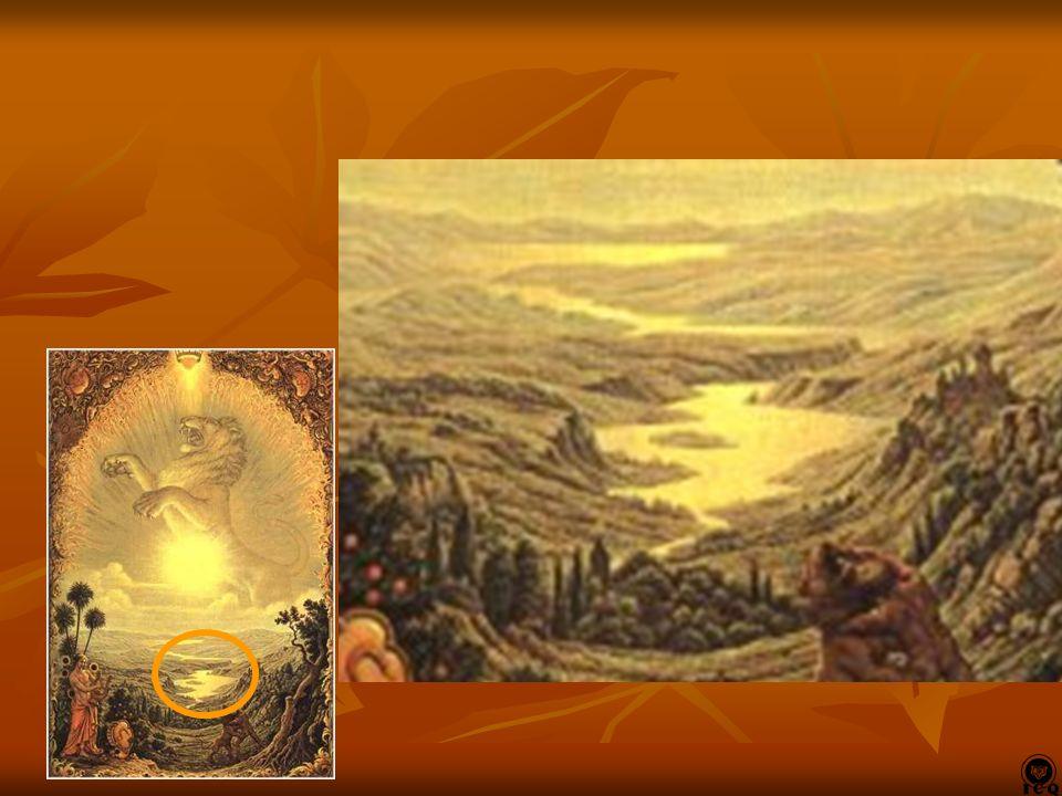 Al centro, ocupando la escena del cuadro vemos al Leon de la Vida en actitud de lucha y con el Sol brillando sobre él. Al centro, ocupando la escena d
