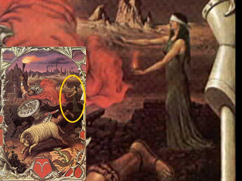 El cordero, símbolo del fuego sagrado, elemento indispensable para el alquimista. El mago que corresponde al Arcano 1 representa al iniciado y dispues