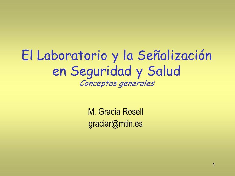1 El Laboratorio y la Señalización en Seguridad y Salud Conceptos generales M. Gracia Rosell graciar@mtin.es