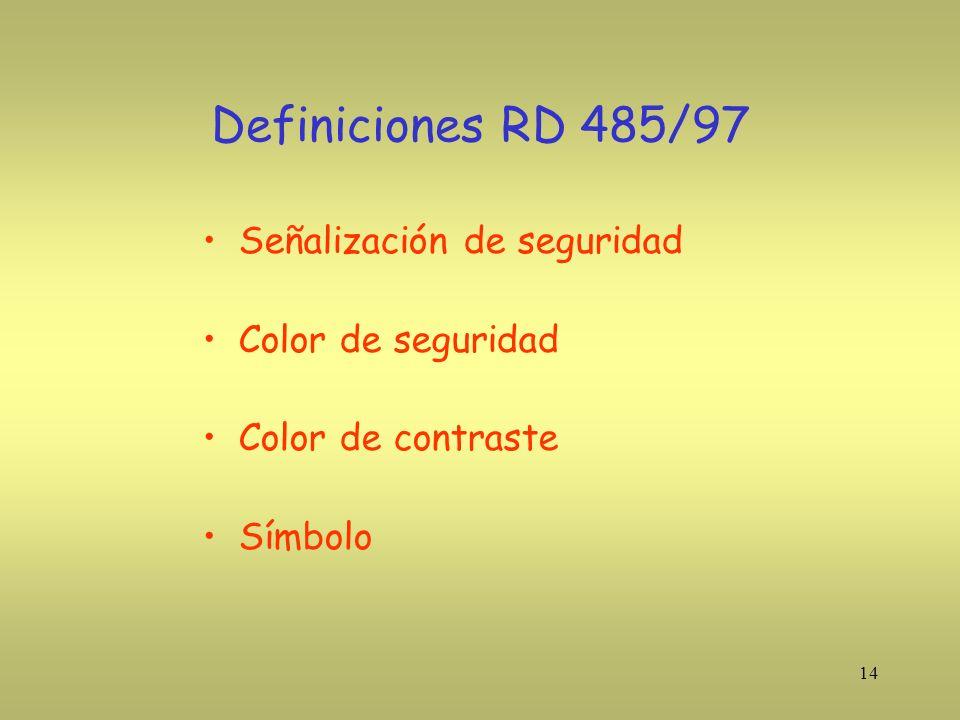 14 Definiciones RD 485/97 Señalización de seguridad Color de seguridad Color de contraste Símbolo