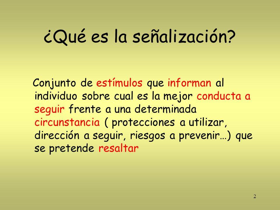 2 ¿Qué es la señalización? Conjunto de estímulos que informan al individuo sobre cual es la mejor conducta a seguir frente a una determinada circunsta