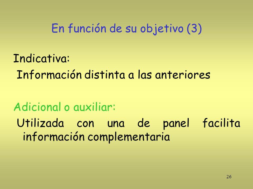 26 En función de su objetivo (3) Indicativa: Información distinta a las anteriores Adicional o auxiliar: Utilizada con una de panel facilita informaci
