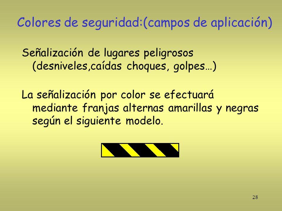 28 Colores de seguridad:(campos de aplicación) Señalización de lugares peligrosos (desniveles,caídas choques, golpes…) La señalización por color se ef