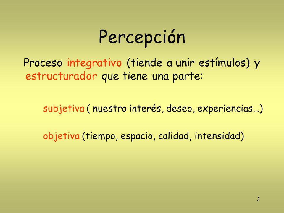 3 Percepción Proceso integrativo (tiende a unir estímulos) y estructurador que tiene una parte: subjetiva ( nuestro interés, deseo, experiencias…) obj