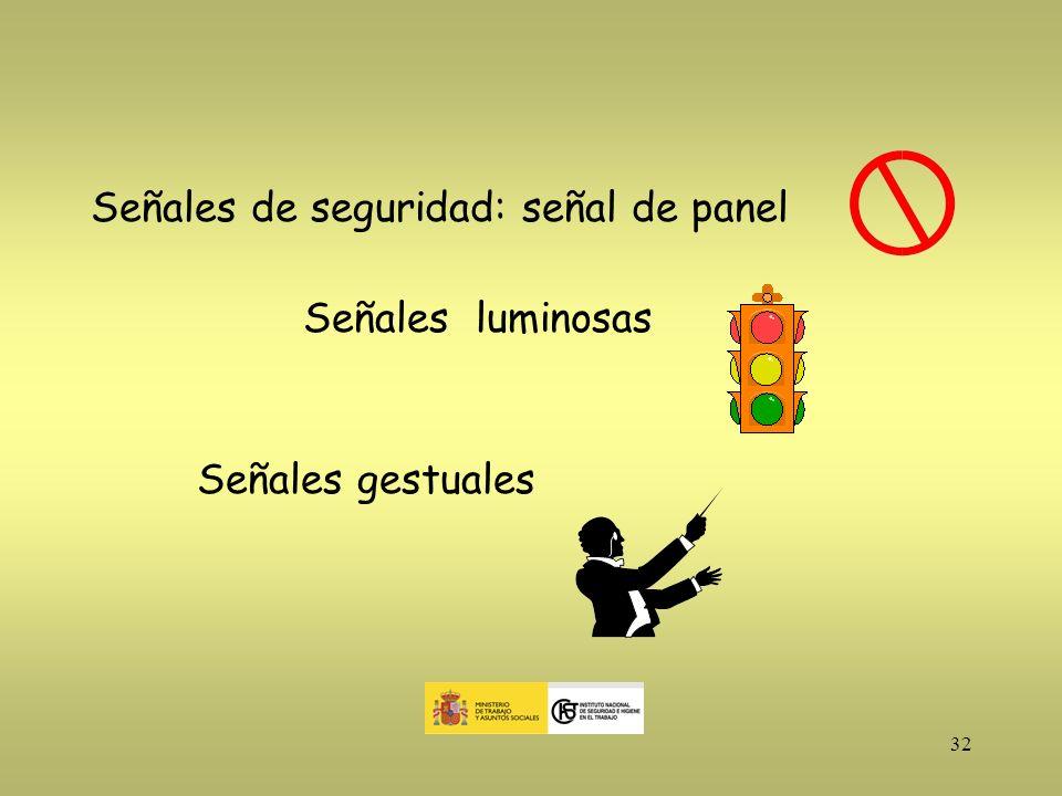32 Señales de seguridad: señal de panel Señales luminosas Señales gestuales