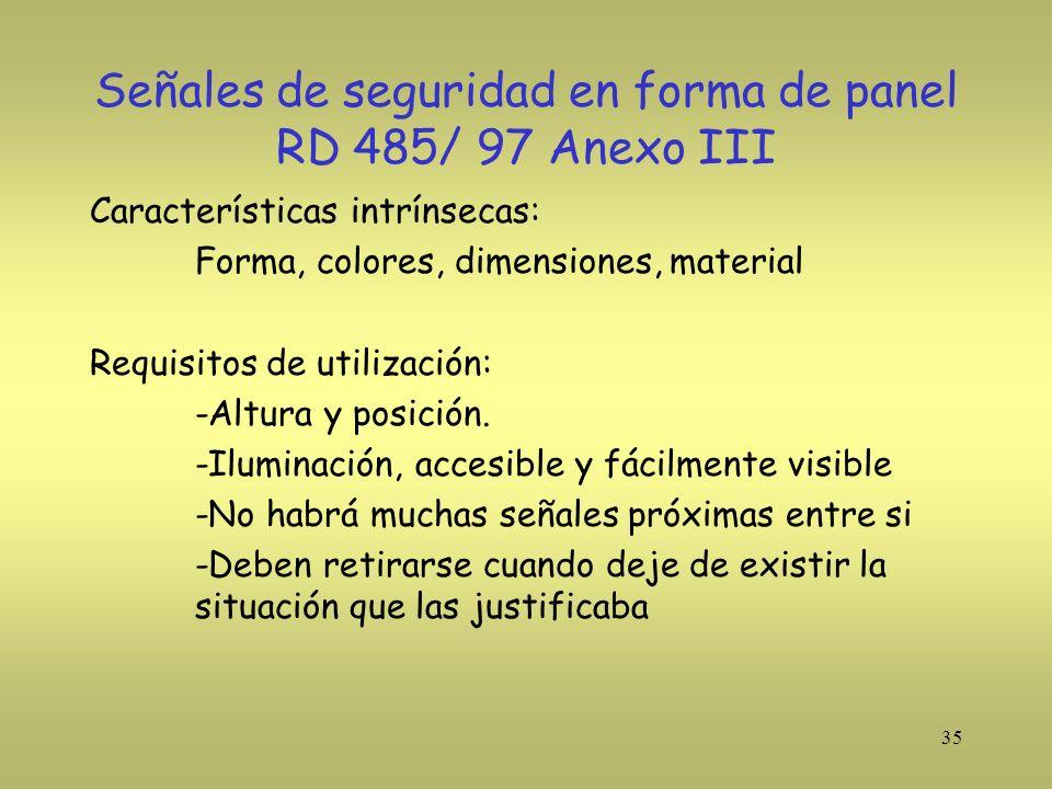 35 Señales de seguridad en forma de panel RD 485/ 97 Anexo III Características intrínsecas: Forma, colores, dimensiones, material Requisitos de utiliz
