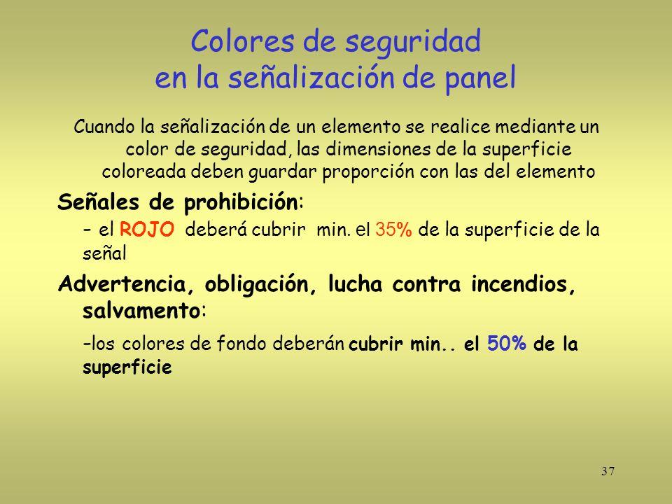 37 Colores de seguridad en la señalización de panel Cuando la señalización de un elemento se realice mediante un color de seguridad, las dimensiones d