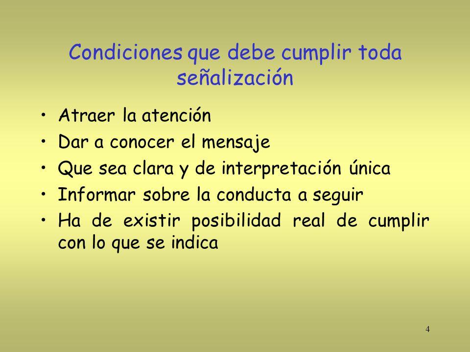 15 Definiciones RD 485/97 (1) Señalización de seguridad : Es aquella que referida a un objeto, actividad o situación determinadas, proporciona una indicación o una obligación relativa a la seguridad o salud mediante una señal en forma de panel, un color, una señal luminosa o acústica, una comunicación verbal o gestual según proceda