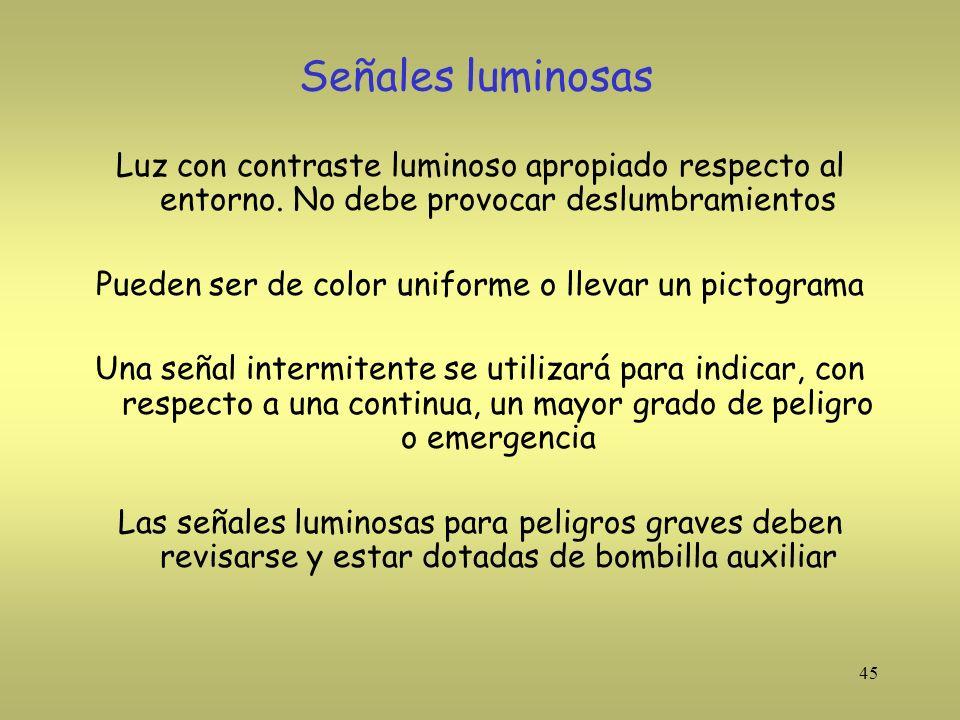 45 Señales luminosas Luz con contraste luminoso apropiado respecto al entorno. No debe provocar deslumbramientos Pueden ser de color uniforme o llevar