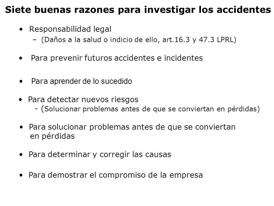 Responsabilidad legal –(Daños a la salud o indicio de ello, art.16.3 y 47.3 LPRL) Siete buenas razones para investigar los accidentes Para detectar nu