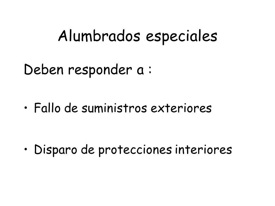 Alumbrados especiales Deben responder a : Fallo de suministros exteriores Disparo de protecciones interiores
