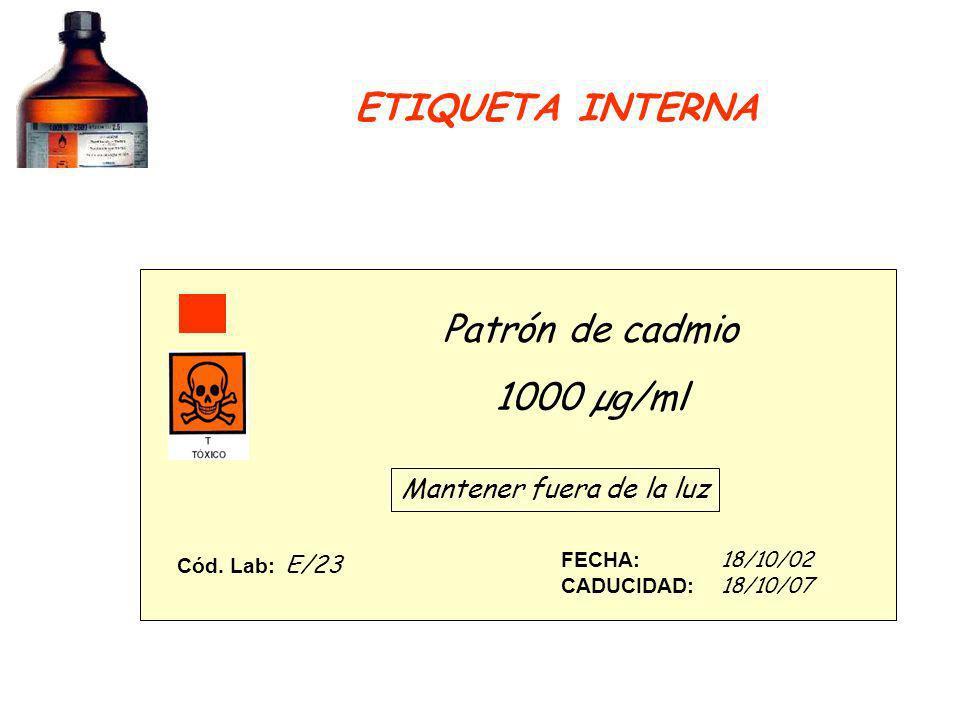 Patrón de cadmio 1000 µg/ml Mantener fuera de la luz FECHA: 18/10/02 CADUCIDAD: 18/10/07 Cód. Lab: E/23 ETIQUETA INTERNA