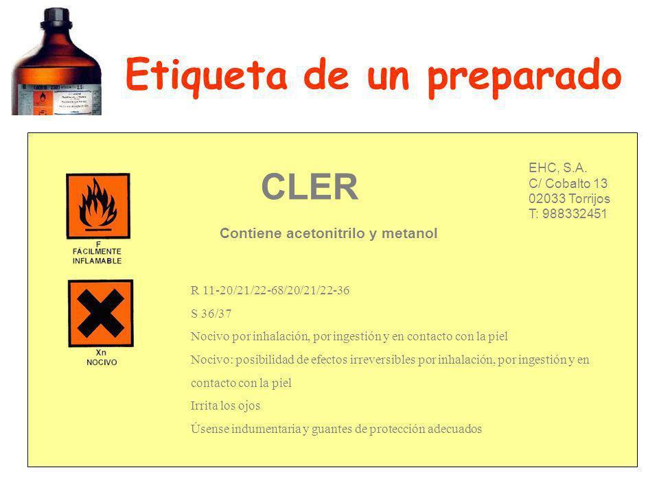 Etiqueta de un preparado EHC, S.A. C/ Cobalto 13 02033 Torrijos T: 988332451 CLER R 11-20/21/22-68/20/21/22-36 S 36/37 Nocivo por inhalación, por inge