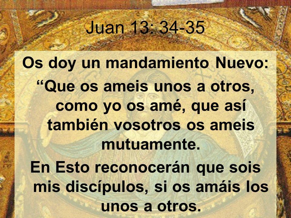 Juan 13: 34-35 Os doy un mandamiento Nuevo: Que os ameis unos a otros, como yo os amé, que así también vosotros os ameis mutuamente.