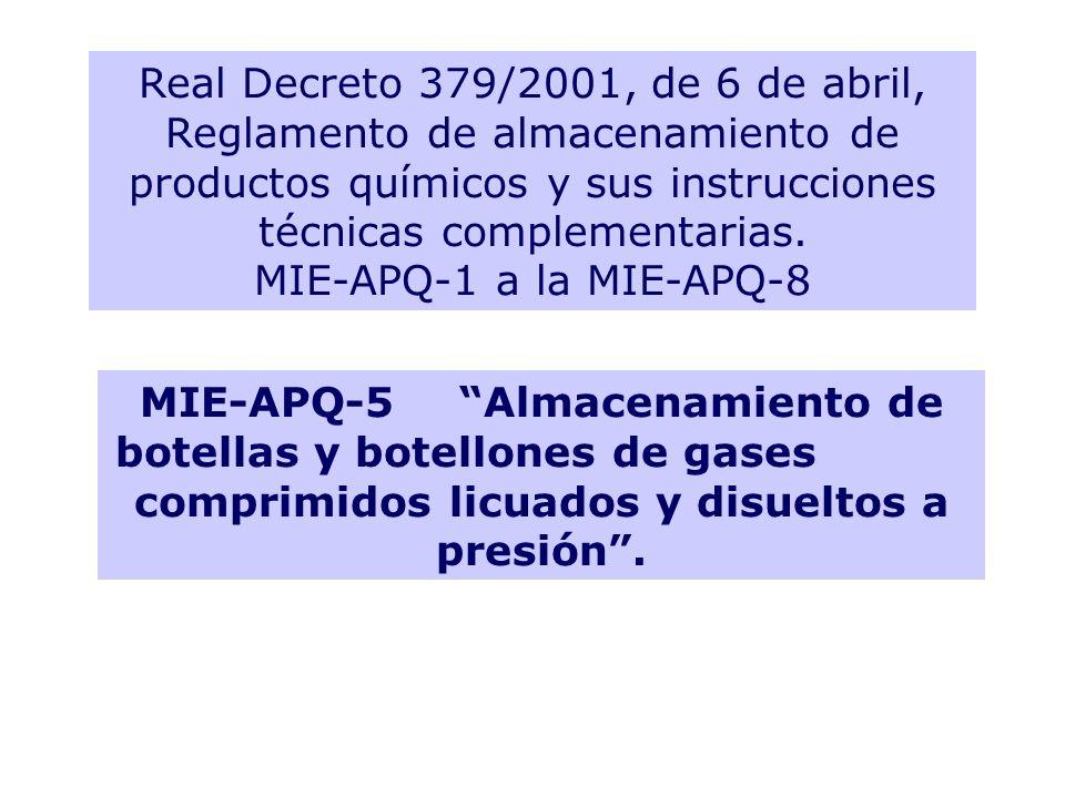 Real Decreto 379/2001, de 6 de abril, Reglamento de almacenamiento de productos químicos y sus instrucciones técnicas complementarias. MIE-APQ-1 a la