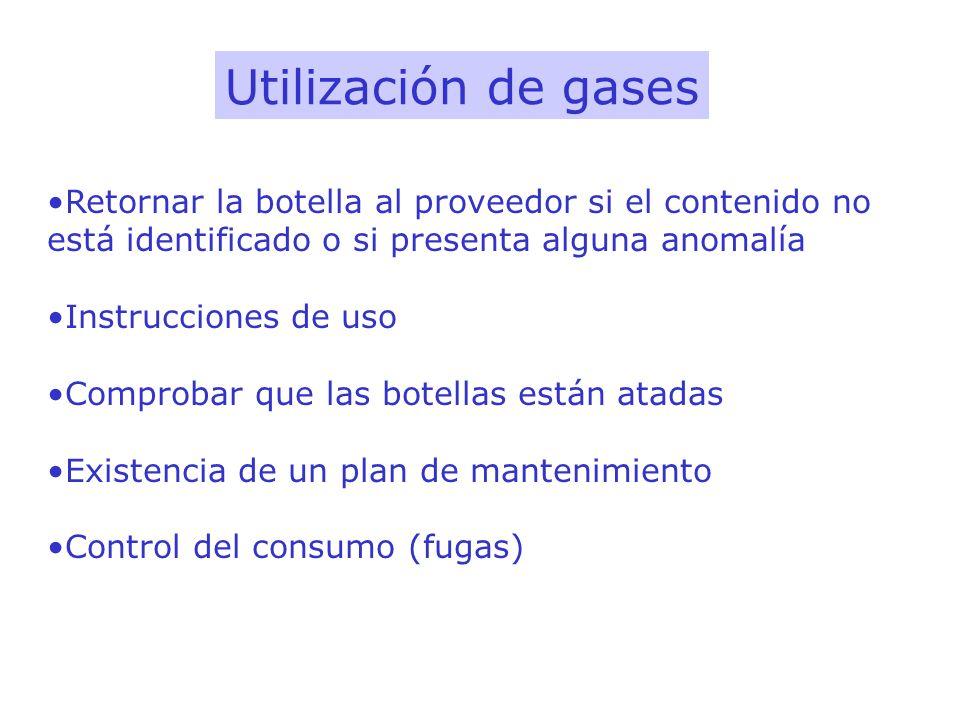Utilización de gases Retornar la botella al proveedor si el contenido no está identificado o si presenta alguna anomalía Instrucciones de uso Comproba