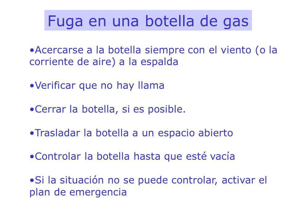 Fuga en una botella de gas Acercarse a la botella siempre con el viento (o la corriente de aire) a la espalda Verificar que no hay llama Cerrar la bot