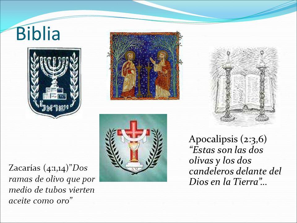Biblia Apocalipsis (2:3,6) Estas son las dos olivas y los dos candeleros delante del Dios en la Tierra… Zacarías (4:1,14)Dos ramas de olivo que por me
